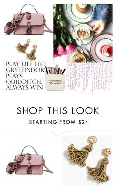"""""""Stud Handbag with Geometric Print Strap Pink"""" by gloria-3789 ❤ liked on Polyvore featuring J.Crew"""