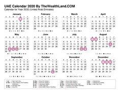 2020 Calendar With Uae Public Holidays The Wealth Land Calendar Printable Calendar Pdf Islamic Calendar