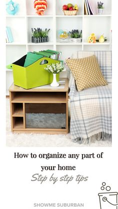 Want to get organized, but not sure how? Check out this simple step by step process for how to organize any area of your home! These tips and ideas will help you declutter, purge, and organize your way to bliss!