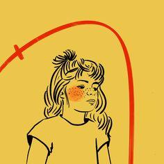 #drawing #outline #child #freckles #girl #illustration #art #digitalart #color #yellow #line #stroke #anna #emotions #feelings