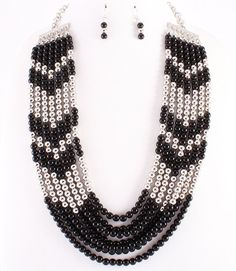 """7 Rows Black Silver Beads  26"""" Long Necklace Earring Set Fashion Statement  #FashionJewelry"""