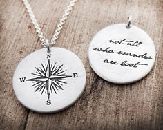 Compasses make me so happy. And paired with this Tolkein quote makes it just about perfect. :: Compass Rose Necklace by lulubugjewelry