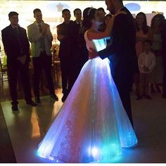 Fiber Optic Wedding Dress Rgb Led Light Up Wedding Gown Glow In The