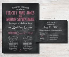 Chalkboard Wedding Invitation and RSVP by SimplyFetchingPaper
