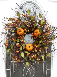 Pumpkin Wreath  Fall Wreath  Autumn Wreath - no link, but I might be able to copy this