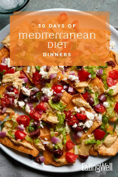 30 Days of Mediterranean Diet Dinners The Mediterranean Diet— loaded with fruits, vegetables, whole grains, legumes, and olive oil— is one of the world's healthiest styles of eating. Easy Mediterranean Diet Recipes, Mediterranean Dishes, Mediterranean Diet Breakfast, Diet And Nutrition, Medatrainian Diet, Med Diet, Diet Menu, Paleo Diet, Ketogenic Diet