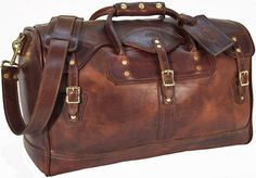 Leather weekender bag(my foot! I carry the kitchen sink!)