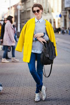 yellow coat wear to work look