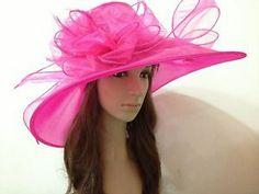 2014 NEWest Church Kentucky Derby Organza WIDE BRim Hot Pink Hat