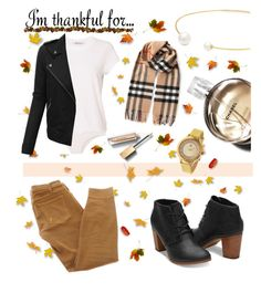 """""""I'm thankful for..."""" by nadaabdelfatah ❤ liked on Polyvore featuring Burberry, T By Alexander Wang, Fallon, Chanel, Current/Elliott, Earth, LE3NO and imthankfulfor"""