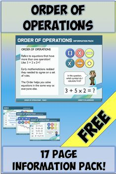 Teach your students Order of Operations with this easy-to-use Unit! Guide your students through this beautifully presented tutorial and use the prompts to engage your students in this fun Math topic! Order Of Operations, Math Graphic Organizers, Math Notebooks, Free Math, Creative Teaching, Teaching Materials, Elementary Math, Word Problems, Math Lessons