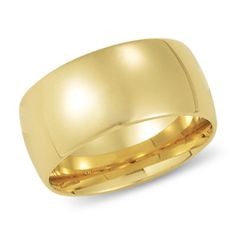 This 10mm band is a bold, contemporary look.  It is one of our most requested styles, the domed band.  Its width is perfect for men and women looking for a wider yet classic 14K yellow gold wedding band. Click on the picture for more details.