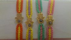 Spring colors Hamsa friendship bracelet
