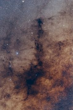 The Pipe Nebula ~ an enormous area towards the centre of the Milky Way where the dust hides the starts in the background.