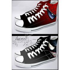 Custom Painted Hi Top Canvas Spiderman and Venom Shoes ($96) ❤ liked on Polyvore…