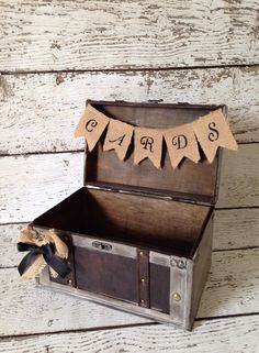 Rustic Burlap Card Box, Burlap Banner, Rustic Winter Wedding Decor @Michele Morales Frech I thought this was cute :) Goes with her wedding theme