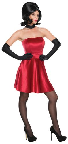 Ladies Scarlet Overkill Minions Movie Costume - Scarlet Overkill is super villain extraordinaire from the Minions movie. This officially licensed costume is a strapless velvet dress that comes with gloves and choker. Complete it will tights, heels and a wig if needed. Perfect for Halloween or school dress up. #yyc #Calgary #costume #MinionsMovie