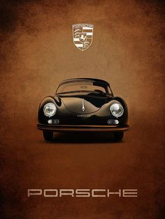 Porsche 356 poster by Mark Rogan - car interior design - Auto Love Time 2020 Porsche 356 Speedster, Porsche Cars, Porsche Carrera, Bmw Cars, Porsche Classic, Bmw Classic Cars, Black Porsche, Auto Poster, Motosport