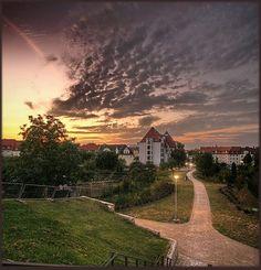 Gutenberggymnasium in Erfurt vom Petersberg aus gesehen