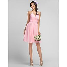 I absolutely ADORE this for my bridesmaids - and it comes in all the colors I like. Sheath/Column V-neck Halter Knee-length Chiffon Bridesmaid Dress – USD $ 67.99