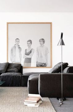 Wall art idea- family members, sketch from photos, blow up, apply to canvas, in black and white.