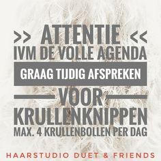 >> ATTENTIE <<, ivm de volle agenda graag tijdig afspreken voor krullenknippen, zeker twee weken te voren contact opnemen om een afspraak te maken, wij knippen max. 4 krullenbollen per dag. WhatsApp 06-24880050, www.haarstudioduet-friends.nl/ Curly Hair Cuts, Curly Hair Styles, Curls, Curly Hair, Curl Hair Styles