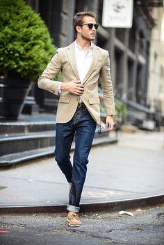 mens street style fashion: denim jeans, tan blazer jacket, white shirt (lu)