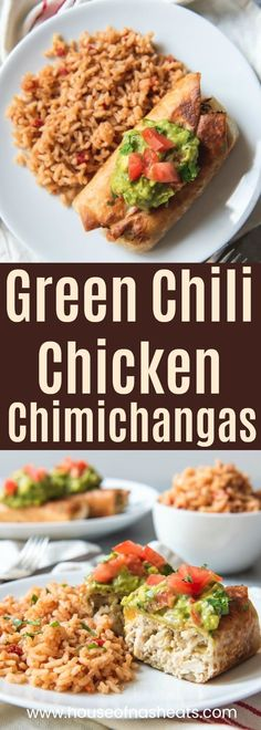 Green Chili Chicken Chimichangas have a crispy-fried shell filled with mildly spiced shredded chicken filling.  Top them with all the fixings and enjoy this delicious dish that originated in the American Southwest! #easy #authentic #fried #baked #chicken #chimichangas #chimichanga #burrito #mexican #texmex #filling #shredded