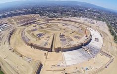 flying drone captures images of the apple campus under construction - designboom | architecture