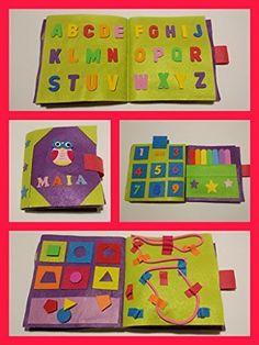 QUIET BOOK . Libri sensoriale con 8 attività. È personalizzato con il nome.: Amazon.it: Handmade