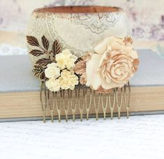 Bridal Hair Comb Wedding Flower Collage Shabby by #apocketofposies