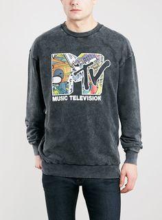BLACK ACID WASH MTV SWEATSHIRT - Topman