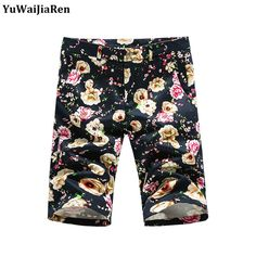 YuWaiJiaRen Summer Men Beach Floral Shorts Casual Dress Cotton Men Shorts Fashion Mosaic Flower Beach Shorts Big Yards Trousers