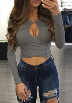 You can be super sexy without showing to much skin with this grey keyhole wrap crop top.