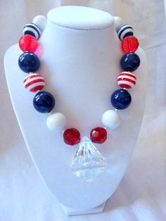 girls chunky necklace girls bubblegum necklace chunky bubblegumbead necklace 4th of july necklace patriotic necklace  little girl necklace