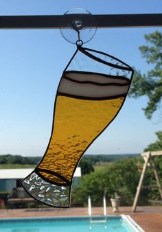 PLEASE NOTE: This is an original QTSG design and is NOT to be copied or duplicated. Handmade Stained Glass Beer Pilsner Glass Suncatcher by QTSG