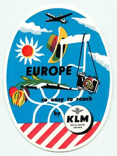 KLM ROYAL DUTCH AIRLINES TO EUROPE VINTAGE ART DECO LUGGAGE LABEL
