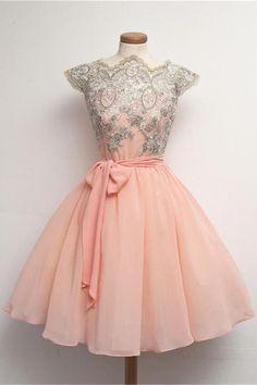 Blush Pink Lace Short Chiffon Homecoming Dresses With Belt K182
