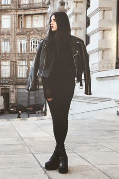 All black with moto jacket