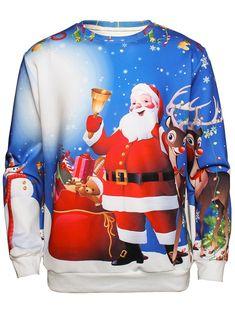 Tsmile Women Gradient Color Shirts Christmas Tie Dye Snowman Santa Claus Dog Cat Printed Long Sleeve Sweatshirt