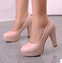 Nuevo 2015 mujeres de primavera otoño Chunky grueso del talón bombas tacones altos ronda del dedo del pie suave básico de oficina escogen los zapatos para mujer de la plataforma en Bombas de las mujeres de Calzado en AliExpress.com | Alibaba Group