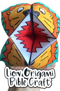 Lion Origami Bible Craft: perfect for a kids lesson on Daniel and the Lions Den.