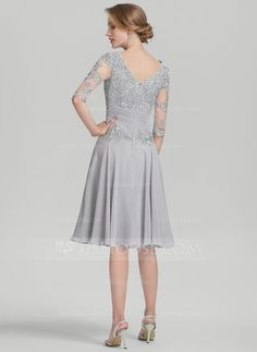 A-Line/Princess Scoop Neck Knee-Length Ruffle Appliques Lace Zipper Up Sleeves 1/2 Sleeves No Other Colors General Plus Chiffon Height:5.7ft Bust:33in Waist:24in Hips:34in US 2 / UK 6 / EU 32 Mother of the Bride Dress