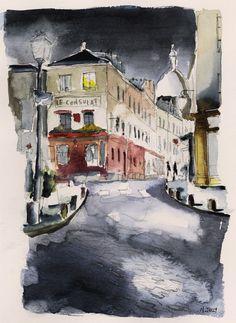 huariqueje: Le Consulat, Montmartre Paris  - Nicolas Jolly French b.1945- Watercolour 24 x 32 cm.