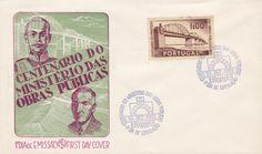 Sobrescrito comemorativo com carimbo de 1.º dia de circulação (Porto) a azul datado de 10/12/1952 alusivo ao Centenário do Ministério das Obras Públicas