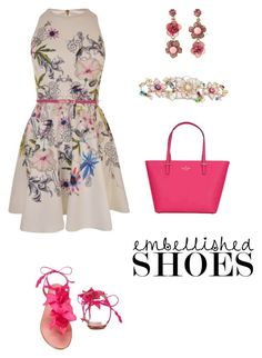 """""""embellished shoes"""" by annalynn2424 ❤ liked on Polyvore featuring Aquazzura, Ted Baker, Kate Spade and Betsey Johnson"""