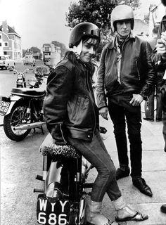 Outside a motorcycle shop, 1964.