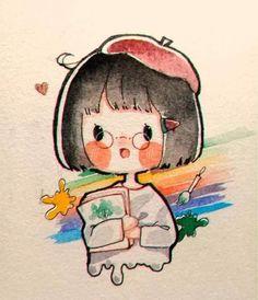 Cute Easy Drawings, Cute Little Drawings, Cute Cartoon Drawings, Anime Drawings Sketches, Cartoon Art Styles, Kawaii Drawings, Cartoon Drawing Tutorial, Cute Anime Chibi, Kawaii Anime