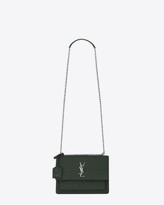 ddbc2f5535be Medium SUNSET Bag in Dark Green Crocodile Embossed Leather. Saint Laurent  ...