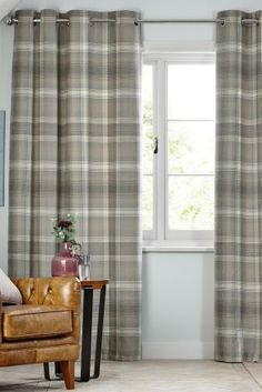Buy Cosy Check Eyelet Lined Curtains from the Next UK online shop Hallway Curtains, Grey Curtains Bedroom, Lounge Curtains, Cottage Curtains, Curtains With Blinds, Lined Curtains, Curtains Living, Grey Check Curtains, Thermal Curtains